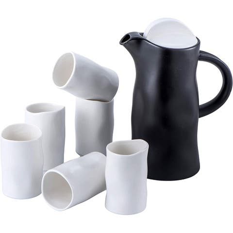Bruntmor Porcelain Ultra Modern Tea Gift Set- Large 60 Ounce Pitcher With 6 Modern 8 OZ Cups - Matte White/Grey