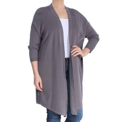 ANNE KLEIN Womens Gray 3/4 Sleeve Open Cardigan Sweater Size: L