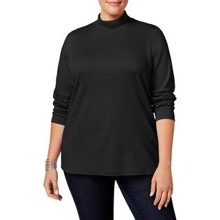 Karen Scott Womens Plus Casual Top Mock Turtleneck Long Sleeves - 0X