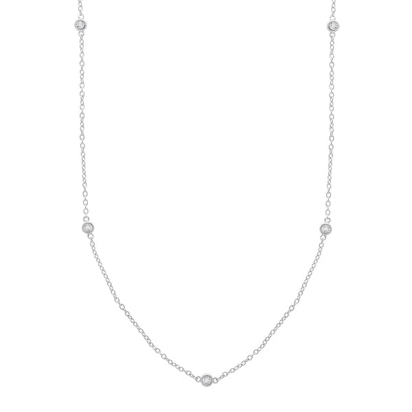 Station Necklace with Diamonds in Sterling Silver