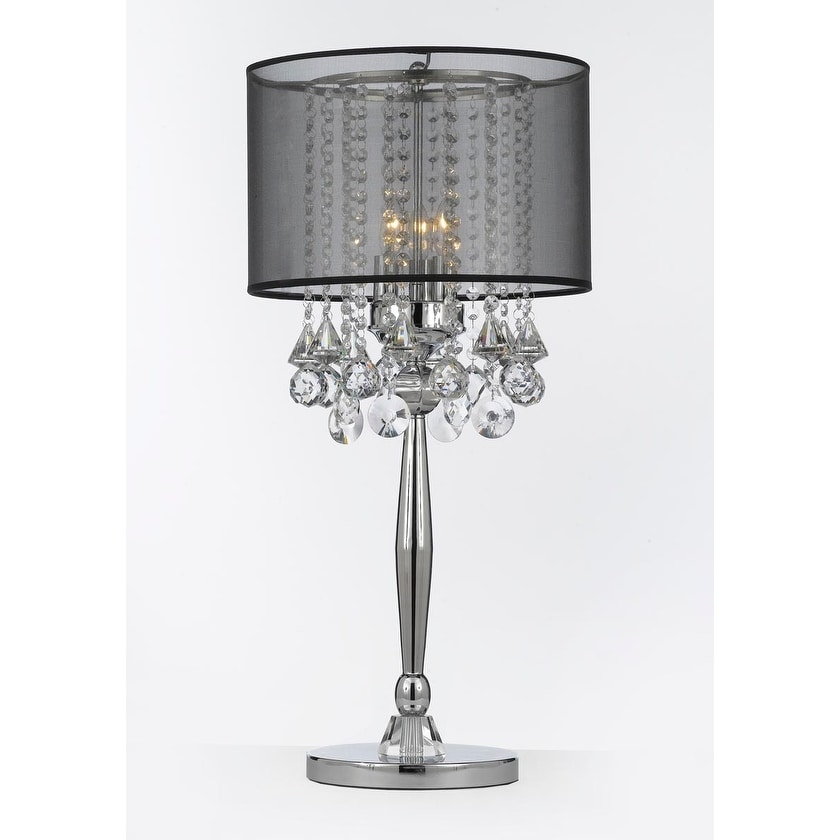 Silver Mist 3 Light Chrome Crystal Table Lamp With Black Shade Contemporary Modern Living Room For Bedroom