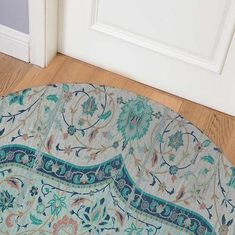 EMPIRE TURQUOISE TEXTURE Indoor Floor Mat By Marina Gutierrez