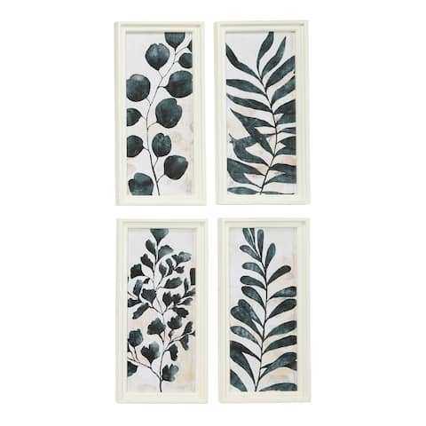 "Rectangular White and Dark Green Watercolor Plant Illustrations Wall Art Set of 4 10"" x 21"" Each"