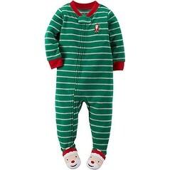 Carter's Baby Boys' 1-Piece Fleece Christmas PJs (18 Months, Green Stripe)