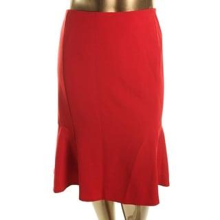 Kasper Womens Plus A-Line Mid-Calf Flare Skirt