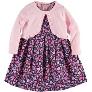 Bonnie Jean Girls 2T-4T Floral Cardigan Dress - Pink