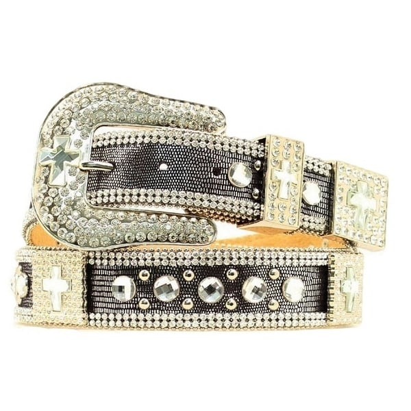 Nocona Western Belt Womens Cross Mesh Crystal Silver Black