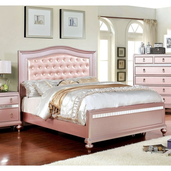 Silver Orchid Gibson Rose Gold Button Tufted Bed. Opens flyout.