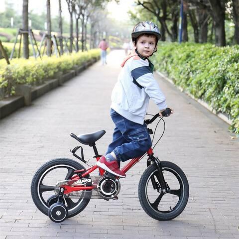 AOOLIVE 16-Inch Carbon Steel Kids Bike With Training Wheels,Handbrake