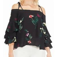 Vince Camuto Black Ruffle Sleeve Floral Women Size Medium M Blouse