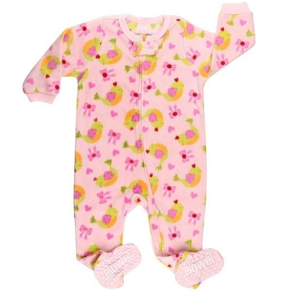 aeffab0e2 Shop Elowel Baby Girls Pink Bird Bow Print Footed Fleece Sleeper ...