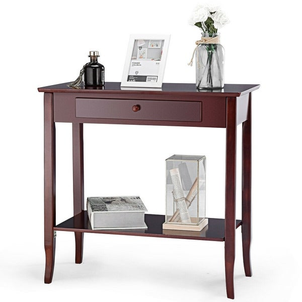 Gymax Console Table Classic 2 Tier Porch Table Lower Shelf Drawer Cherry Color