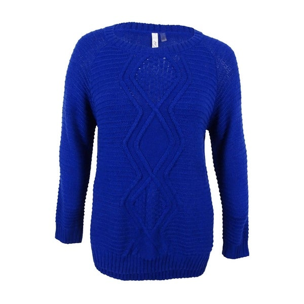 NY Collection Women's Cable-Knit Plus Size Sweater