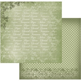 """Vintage Rose Garden Double-Sided Paper 12""""X12""""-Green Typo"""