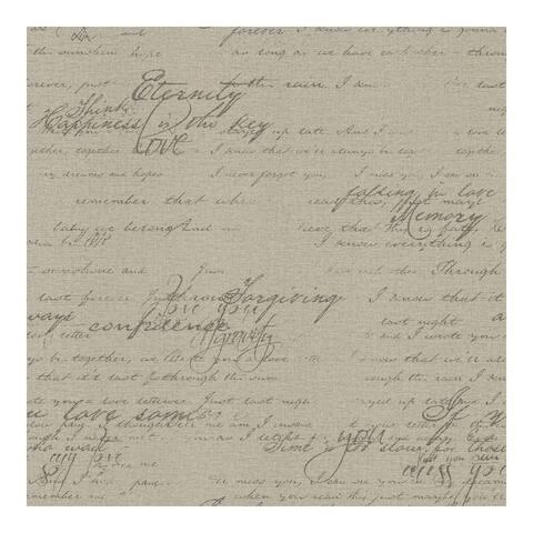 Nouvel Taupe Script Wallpaper - 20.5 x 396 x 0.025