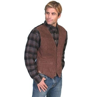 Scully Western Vest Mens Boar Suede Snap Tailored Espresso 504-67