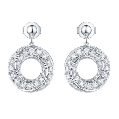 Vedantti 0.90Ct Round G-H/VVS1 Natural Diamond Open-Circle Max Everyday Wear Drop Earring