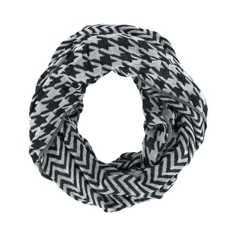 David & Young Women's Houndstooth and Chevron Infinity Loop Scarf - one size