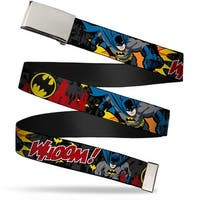 Blank Chrome  Buckle Batman In Action Whoom! Red Skyline Webbing Web Belt
