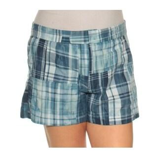 Womens Blue Plaid Casual Short Size 12