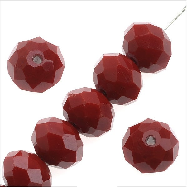 Simulated Ruby Glass Beads, 8x10mm Faceted Rondelles, 10 Pieces, Ruby Red