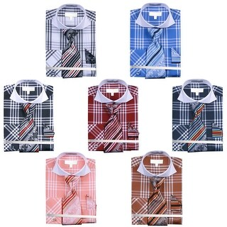 Men's Checker Pattern Two Tone French Cuff Shirts with Cuff Links