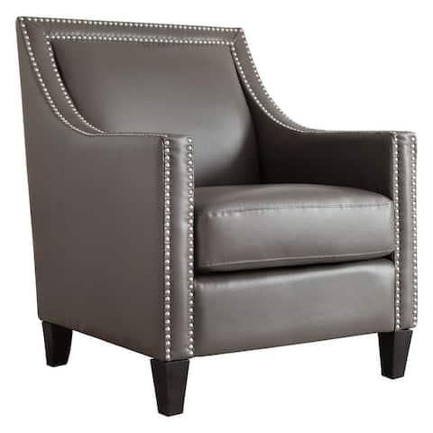 Copper Grove Rab Leather Nailhead Armchair