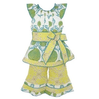 AnnLoren Little Girls Yellow Floral Damask Print Flared Pant Outfit