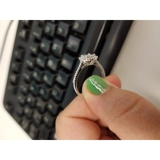 Miadora 10k White Gold 1/2ct TDW Certified Diamond Halo Engagement Ring