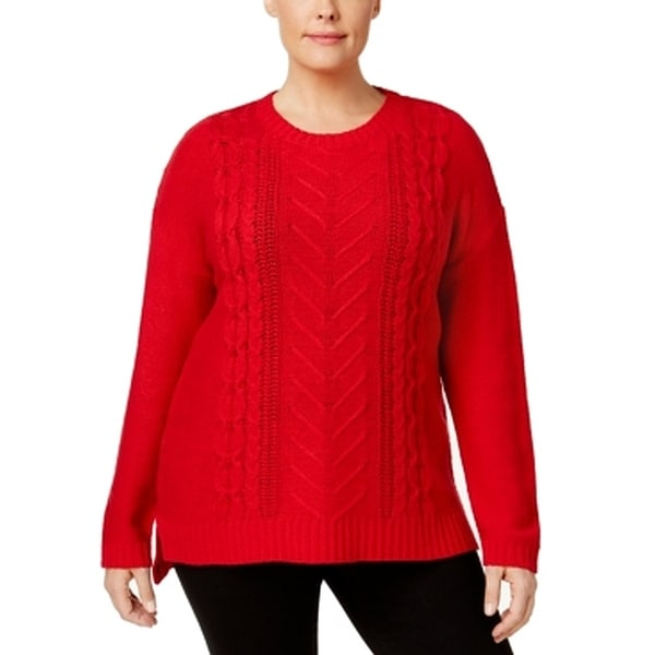 Shop NY Collection Red Women s Size 1X Plus Cable Knit Pullover Sweater -  Free Shipping On Orders Over  45 - Overstock.com - 27281027 605135ddc