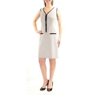 NINE WEST $89 Womens New 1247 Silver Color Block Zippered Sleeveless Dress 4 B+B