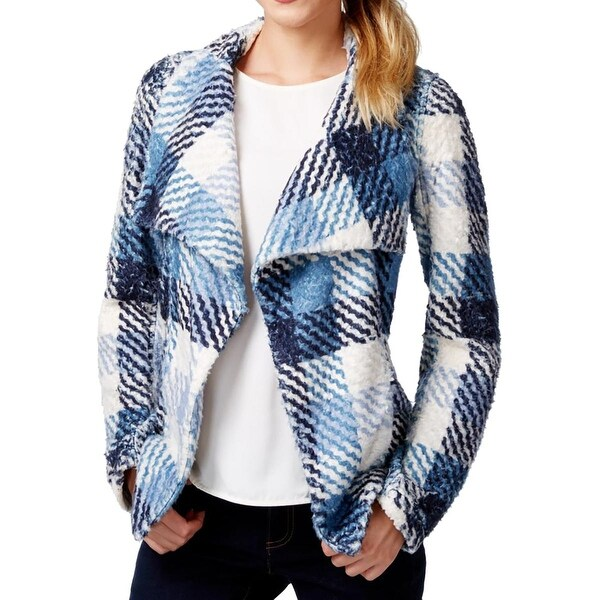 Two by Vince Camuto Womens Jacket Faux Fur Plaid