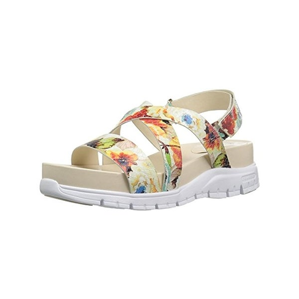 Cole Haan Womens Zerogrand Wedge Sandals Floral Print Open Toe