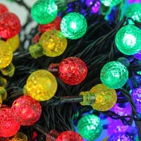 Set of 240 Multicolored LED G20 Globe Christmas Lights-Green Wire