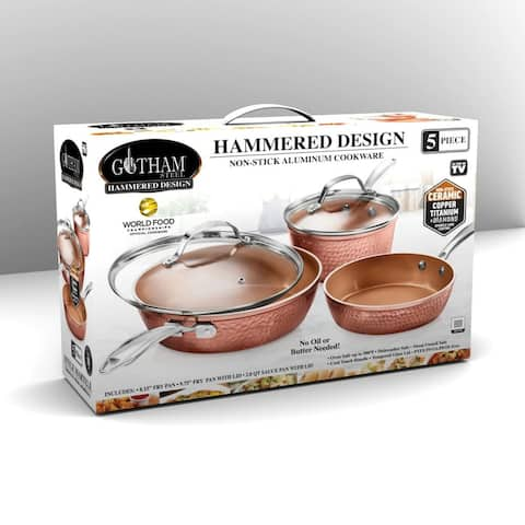 Gotham Steel Hammered Copper Non Stick Scratch Free 5pc Cookware Set