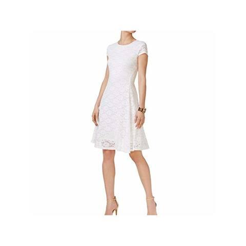 ALFANI White Short Sleeve Knee Length Fit + Flare Dress Size 14