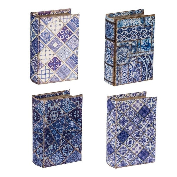 "Set of 4 Blue and White Book Boxes with Lined Interior 5.5"" - N/A"
