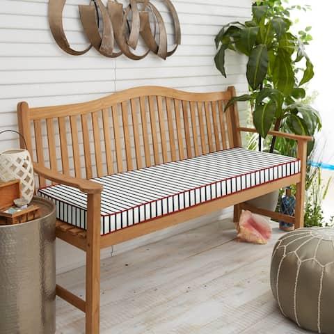Sunbrella Lido Indigo Indoor/ Outdoor Corded Bench Cushion, 40 in x 17 i