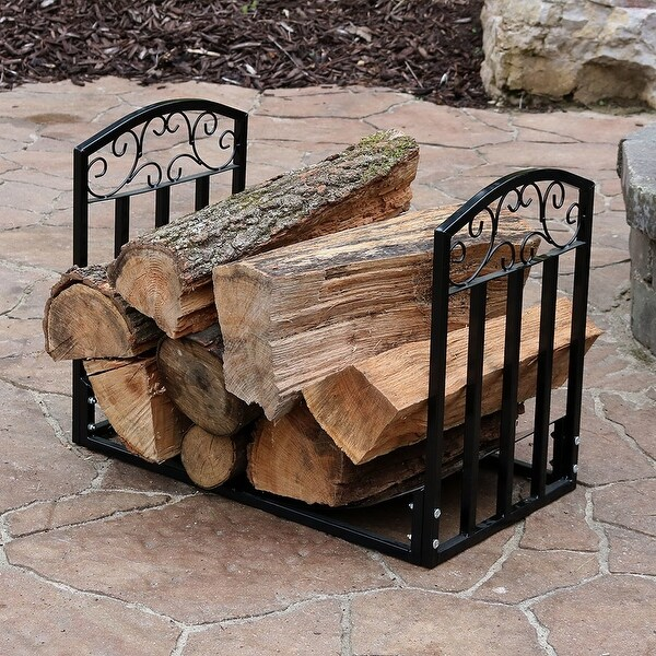 Sunnydaze Designer 2ft Black Firewood Log Rack Heavy Duty Wood Storage Holder