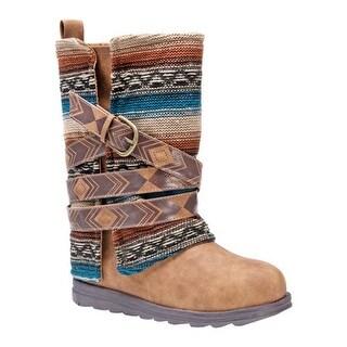 MUK LUKS Women's Nikki Boot Cognac/Stripe