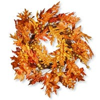Maple Leaf and Berry Artificial Wreath - 24-Inch, Unlit - green