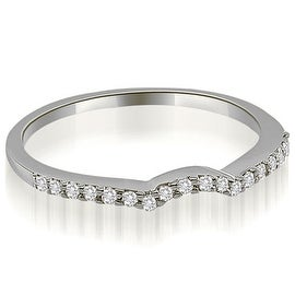 0.15 cttw. 14K White Gold Petite Curved Round Cut Diamond Wedding Ring