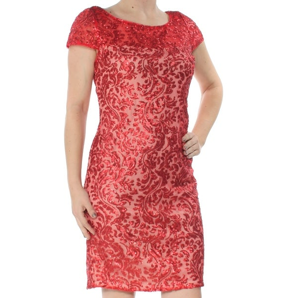 4a5bdfe82f8 Shop CALVIN KLEIN Womens Red Sequined Short Sleeve Jewel Neck Above The  Knee Sheath Cocktail Dress Size  2 - On Sale - Free Shipping On Orders Over   45 ...