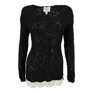 Hippie Rose Juniors' Lace Hem Scoop Neck Sweater