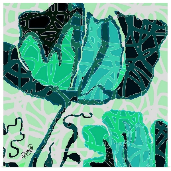 """Large Teal And Green Abstract Flower"" Poster Print"