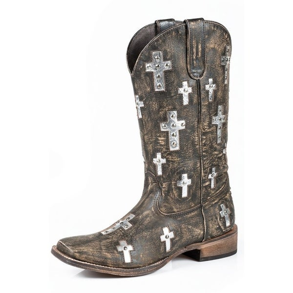 "Roper Western Boots Womens Cross 12"" Shaft Brown"