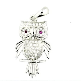 Owl Pendant Sterling Silver 28mm Tall Charm By MidwestJewellery