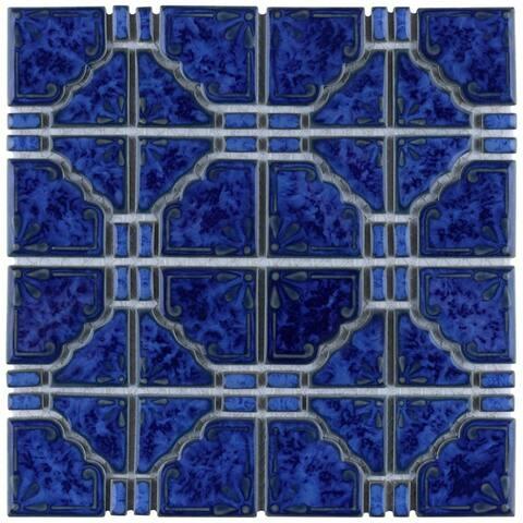 SomerTile 11.75x11.75-inch Callisto Blue Cloud Porcelain Mosaic Floor and Wall Tile (10 tiles/9.79 sqft.)