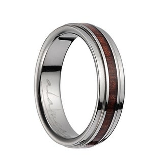 Titanium Polished Wedding Band With Pink Ivory Inlay & Stepped Edges - 6mm (Option: 3.5)