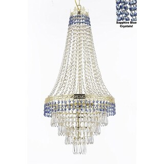 French Empire Crystal Chandelier Lighting Trimmed with Sapphire Blue Crystal